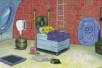 gambar rumah spongebob kamar tidur