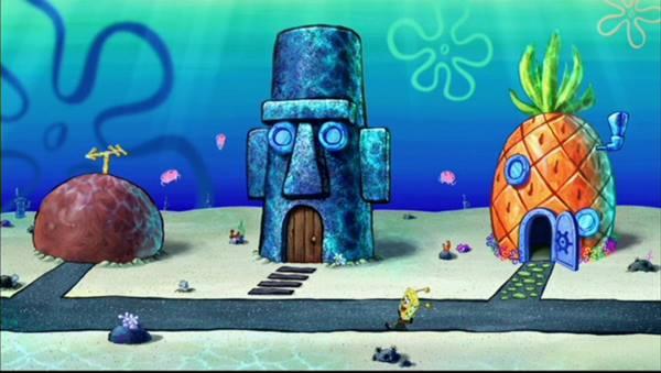 Gambar Rumah Spongebob, Squidward dan Patrick di Bikini Bottom