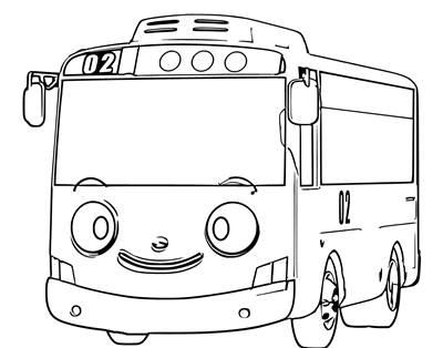 Gambar Mobil Tayo Kartun Hitam Putih